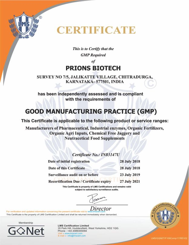 Prions Biotech GMP Certificate