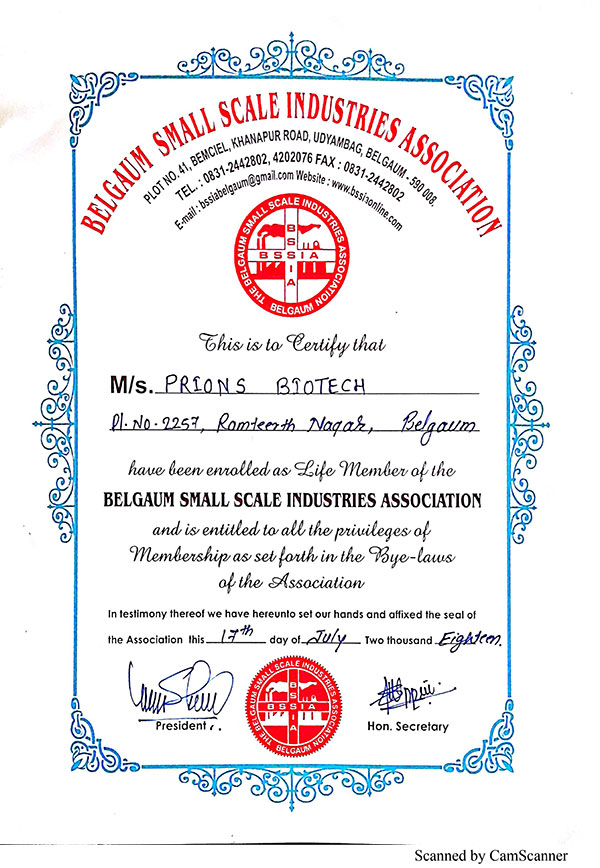 Prions Biotech Belgaum Small Scale Industries Association Certificate